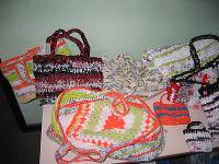 Beautiful crochet bags from cheap carrier bags.